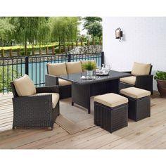 Modular Patio Wicker Dining Sofa Set, Weather-Resistant Outdoor Living Furniture w/ 7 Seats, Cushions, & Glass-Top Table, Beige(Aluminum) Wayfair Patio Furniture, Outdoor Living Furniture, Patio Furniture Cushions, Rattan Sofa, Garden Furniture, Furniture Movers, Farmhouse Furniture, Outdoor Sofa Sets, Outdoor Seating