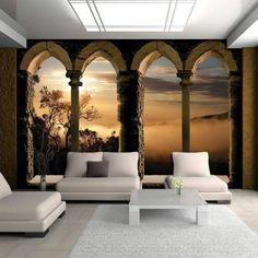 salon moderne à l'intérieur blanc, mur d'une réalité saisissante