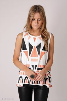sound wave navajo top- white with black/coral