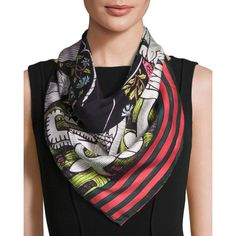 Gucci The Emperor Silk Twill Tarot Scarf ($465) ❤ liked on Polyvore featuring accessories, scarves, multi, gucci, patterned scarves, square scarves, gucci scarves and print scarves