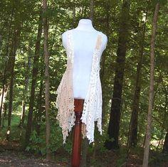 Crochet Hippie Vest, Shabby, Cotton, Tattered, Boho, Gypsy, White, Cream, Eco Earth Friendly, Upcycled Clothing on Etsy, $68.00