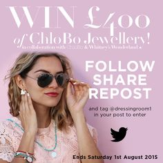 WIN £400 worth of Chlobo Jewellery, simply FOLLOW us on Pinterest and REPOST this on your boards!