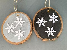 Natural Wood Ornaments - Black