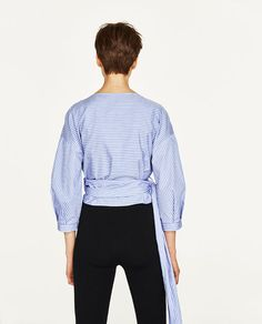 Image 6 of STRIPED CROSSOVER SHIRT from Zara