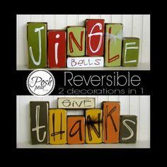Give Thanks / Jingle Bells Reversible Double by ThePoshPearShop, $42.95