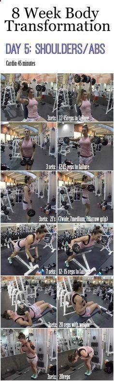 8 Week Body Transformation: Day 5 Shoulders and Abs - Fitness Food Diva #bodybuildingtips