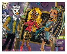 All about Monster High, love the bird guy and the background girl's eyes!
