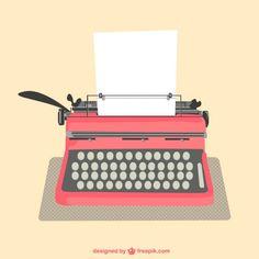 Máquina de escribir con hoja de papel. Vector gratis con atribución.
