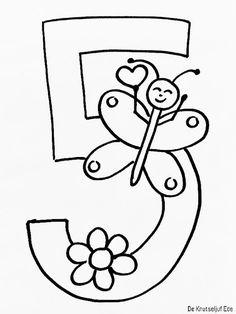 Kleurplaten jarige cijfers - verjaardag 1 t/m 10 | Kleurplaat verjaardag eerste-tweede | derde jaar kaart-hoera-feest | meisjes vlinder lieveheersbeestje
