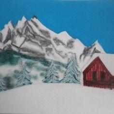 Pastel sec : chalet dans la montagne
