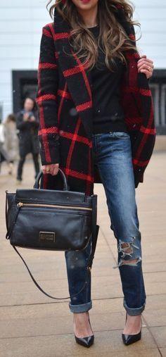 fall fashion coat ripped denim