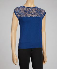 Take a look at this Peacock Lace-Top Cap-Sleeve Sweater - Women by Nancy Yang on #zulily today! $20 !!