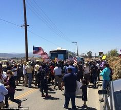'Return to sender!' Hundreds of California protestors block buses carrying 140 illegal immigrants forcing them to turn back to border post Conservative Politics, Buses, Carry On, Murrieta California, Beautiful People, The Outsiders, Bring It On, Street View, World