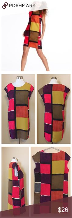 Ann Taylor Loft Color Block Shift Dress --- size 6 Ann Taylor Loft Color Block Shift Dress --  • Size 6 • Excellent condition • Back zipper with hook and eye closure • Unlined polyester • On seam pockets  • 19.5 inch bust • 19 inch waist • 33.5 inch length • Feel free to ask any questions LOFT Dresses