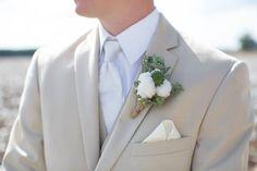 Fall Wedding; Rustic Boutonniere; Cotton; Succulents; Southern Wedding; Oak Level Farm