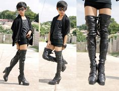 Thigh high boots.. just not this heel, i either like flat boots or stiletto.