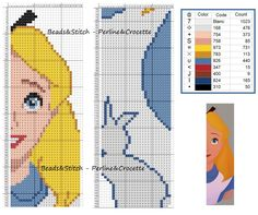 Cross stitch chart Disney Alice bookmark ( Alice in Wonderland )