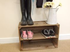 Shabby chic wooden shoe rack rustic vintage shoe or display shelf apple crate Wooden Apple Crates, Wood Crates, Shoe Storage, Diy Storage, Crate Storage, Storage Baskets, Wall Storage, Rustic Hallway Table, Crates
