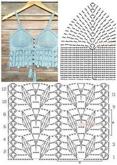 Crochet Bra, Crochet Bikini Pattern, Crochet Cardigan Pattern, Crochet Shirt, Crochet Motif, Crochet Hooks, Crochet Shawl Diagram, Crochet Square Patterns, Easy Knitting Patterns