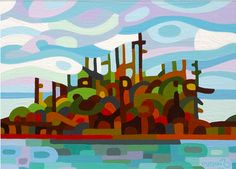 Paintbrush Rocket: 5th Grade Abstract Landscapes inspired by artist Mandy Budan