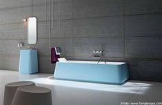 Modern blue bathtub design in grey bathroom « Simple modern . Grey Bathrooms Designs, Contemporary Bathroom Designs, Contemporary Interior Design, Bathroom Modern, Feminine Bathroom, Bathtub Designs, Blue Bathrooms, Brown Bathroom, Simple Bathroom