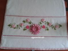 h Ribbon Work, Silk Ribbon, Embroidery Bags, Embroidery Patterns, Diy And Crafts, Arts And Crafts, Crochet Baby, Needlework, Cross Stitch