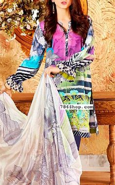 Multicolor Lawn Suit | Buy Charizma Eid Collection Pakistani Dresses and Clothing online in USA, UK