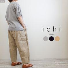 ICHI コットン 袖タック*無地プルオーバー(全3色)