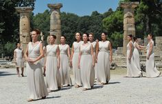 Olympin Flame Ceremony  Ancient Olympia, Peloponnese Greece