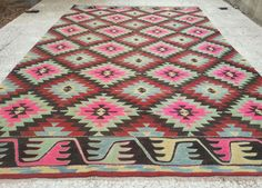 6.7x10.4 FT203x317 cmVINTAGE Handmade Pink Color by pillowsstore, $692.00