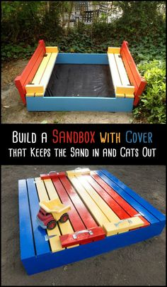 Here's a great DIY sandbox that keeps the sand in and the cats out. playg… Here's a great DIY sandbox that keeps the sand in and the cats out. playground outdoor play areas DIY Sandbox with Cover Kids Outdoor Play, Kids Play Area, Backyard For Kids, Backyard Projects, Outdoor Projects, Diy For Kids, Play Areas, Diy Projects, Outdoor Games