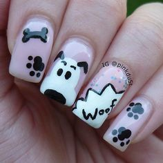 Try out these autumn nails this season and grab compliments from your pals. Have a cool and windy autumn season. Nail Art Simple, Cute Nail Art, Cute Nails, Pretty Nails, Dog Nail Art, Animal Nail Art, Dog Nails, Nails For Kids, Girls Nails