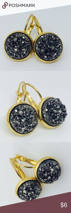 Gunmetal Druzy Gold Dangle Earrings Brand New, in packaging, never worn!  12mm Gunmetal Dark Silver Druzy  Lead & Nickel Free  Gold French Leverback Dangle Earrings   ⭐️ Druzy Stud Earrings  1 pair = $6 2 pairs = $10 3 pairs = $14 4 pairs = $17 5 pairs = $21 ⭐️   All Jewelry will be shipped in hand decorated boxes so everything will be shipped to you securely and safely.  This is handmade by me, #gold #silver #earrings #cute #new #poshpackages #needssomespark   USPS Priority Shipping, I ship…