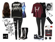 """""""Me and Brianna Meeting Irl"""" by xxstay-goldxx ❤ liked on Polyvore featuring Topshop, Converse and Ray-Ban"""
