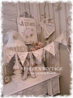 Lace Button Vintage Dream Banner - French Farmhouse - REBECCA VINTAGE -  A Gathering Place