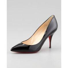 Women's Piou Piou Patent Point-Toe Red Sole Pump, Black - Christian Louboutin