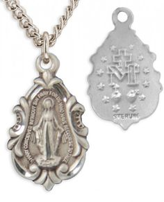 Heartland Store Womens Sterling Silver Fleur-de-lis Teardrop Miraculous Pendant USA Made Choose Chain