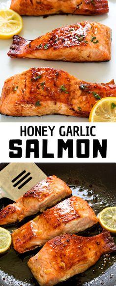 ★★★★★ 552 Riviews : Recipe Susy ==>Honey Garlic Salmon – Famous Last Words Healthy Salmon Recipes, Fish Recipes, Seafood Recipes, Seafood Dishes, Healthy Foods, Chicken Recipes, Vegan Recipes, Cooking Recipes, Salmon And Shrimp