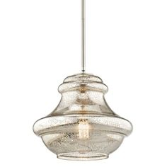 """View the Kichler 42044NIMER Brushed Nickel Everly Single Light 12"""" Wide Pendant with Mercury Style Glass Shade at Build.com."""