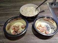 Bockwurst portioniert, Parmesan, Reis