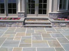 Mounting a Block or Paver Walkway – Outdoor Patio Decor Backyard Pool Designs, Patio Design, Backyard Patio, Paver Walkway, Front Walkway, Walkways, Bluestone Patio, Concrete Patio, Patio Stone