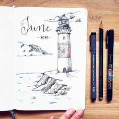 Bullet journal monthly cover page, June cover page, lighthouse drawing.   @bujo.stefanie