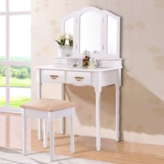Giantex Vanity Set with Tri-Folding Mirror, Makeup Dressing Table with 4 Drawers and Storage Shelf, Modern Bedroom Bathroom Makeup Vanity Desk with Cushioned Stool for Girls Women (White) Makeup Dressing Table, Dressing Table With Stool, Vanity Set With Mirror, White Vanity, Leather Recliner Chair, Swivel Chair, Toddler Table And Chairs, Living Room Trends, Living Room Chairs