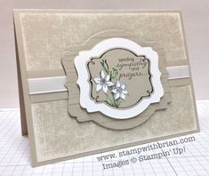 Really beautiful layering of the Deco Labels Framelits - You're Lovely, Petite Pairs, Stampin' Up!, Brian by maureen Making Greeting Cards, Greeting Cards Handmade, Stamping Up Cards, Get Well Cards, Card Tags, Paper Cards, Flower Cards, Cute Cards, Creative Cards