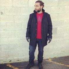Mens coat, jeans, tee, gloves
