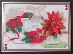 red poinsettias greetings on Craftsuprint designed by Angela Wake - made by Davina Rundle - I printed on to matte photo paper. Mounted the topper on to a card covered with silver linen card. Layered all elements. Added beads, gems and a sentiment. A beautiful design that's quick and easy to make up. - Now available for download!