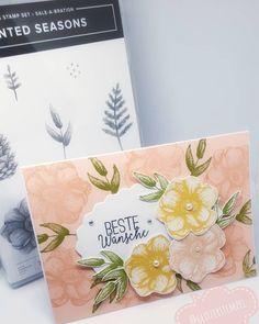 Eine neue Karte 🤗 wie findet ihr es? Farbe #blütenrosa & #safrangelb  #stampinup #stampinupdemo #stampinupdeutschland #stampinupcards… Stampinup, Stampin Up Cards, Seasons, Instagram, Stamps, Cards, Seasons Of The Year, Diy Cards, Embossing Folder