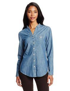 Dockers Women's Essential Chambray Shirt, Chambray/Medium Wash, Large