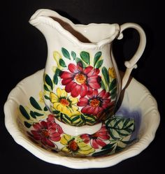 MULTI_COLOR White CERAMIC WASH BASIN AND PITCHER FLORAL WILDFLOWER DESIGN JAPAN