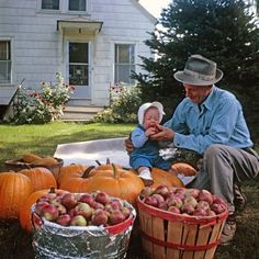 How gorgeous is this photo! So sweet. Apple of His Eye: 1964. A great grandpa with his great granddaughter.